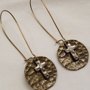 Jewelry - Cross earrings with disk hammered bronze tone